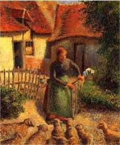 Shepherdess Bringing in Sheep, 1886 Camille Pissarro