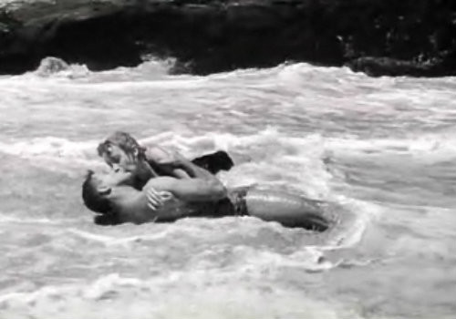 """From Here to Eternity"" Lancaster and Kerr in the beach scene at Halona Cove, Oahu, Hawaii."
