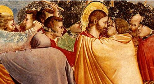 """Kiss of Judas"", 1304-06, Giotto, Fresco (detail) Scrovegni Chapel, Padua, Italy"