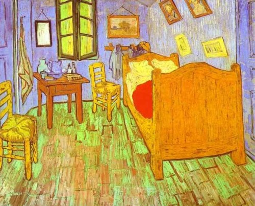 Vincent's Bedroom in Arles, 1888 Digital version shows what may be the original violet walls.