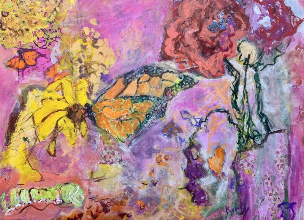 "Butterfly Kiss, 36 x 50"" mixed media"
