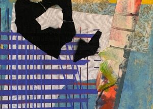 "Bye Bye Blackbird, Mixed media on canvas, 48 x 24"""