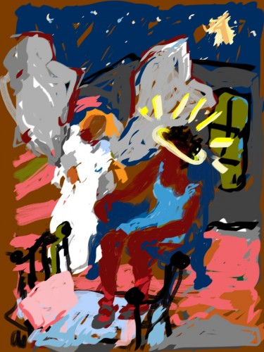 Annunciation, iPad painting by Kirby Kendrick